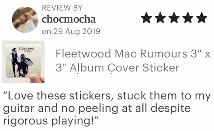 album cover stickers 5 star review